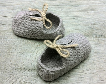 OLAF, Gray Cotton Booties, Baby Shoes,Neutral Baby Slippers,with Beige Shoelaces, Sizes 3-6 months, Ready to Ship
