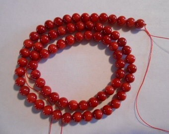"16"" inch strand ReD BAMBOO CORAL 6mm Round BEADs"