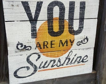Wood Sign - Beach Sign - You are my sunshine handpainted on reclaimed wood