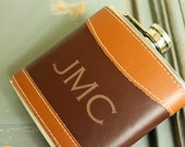 Personalized Leather Flask, Custom Flask, Monogrammed Flask: Gift for Him, Groomsmen, Grooms Gift for Him, Valentines, Fathers Day