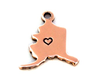 2x Rose Gold Plated Alaska State Charms w/ Hearts - M132/H-AK