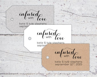 Infused With Love Olive Oil Wedding Favor Tags   3 x 1.7   Print-It-Yourself   Digital Download   Printable   Custom Reception Favor Tags