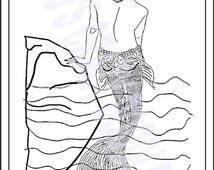 MERMAID PIN-UP- Vargas-Style, Glamorous Mermaid, Adult Coloring Page - Download