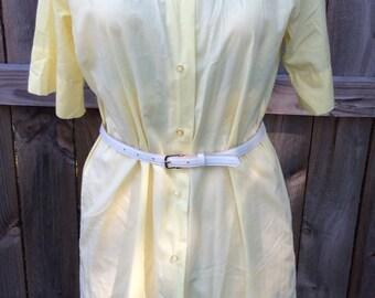 Vintage shirt dress, butter yellow ,super cute ,1950's dress
