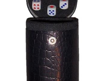 New BLACK DICE Casino Leather Dice Cup Shaker Craps Cubilete 5 dice