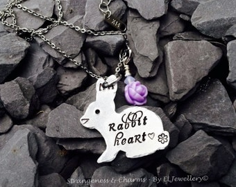 Hand Stamped 'Rabbit Heart' Aluminium Bunny Rabbit Necklace, Rabbit Jewellery, Bunny Jewelry, Unique Design, Handmade, Rabbit Lovers, Hearts
