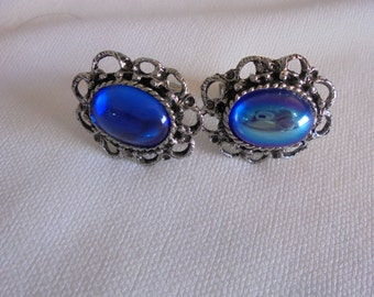 Vintage Blue Pearlescent Silver Tone Cuff Links