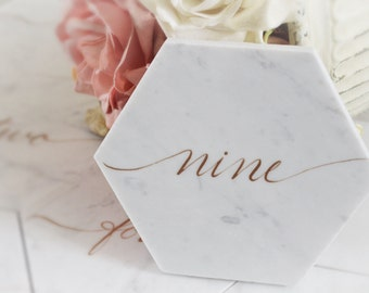 White Marble Tile Stone Table Numbers, Table Names - Relaxed Script