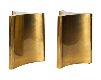 Mastercraft Brass Dining Table Pedestal Bases   A Pair