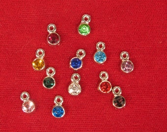 "12pc set ""birthstones"" charms in antique silver style (BC1104)"