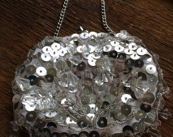 Vintage Silver and White Beaded and Sequined Evening Bag Made in Hong Kong