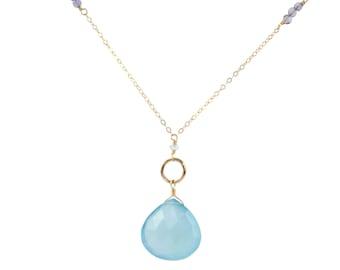 Chalcedony pendant necklace, gold hoop necklace, wire wrap jewelry, gemstone jewelry