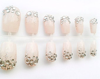 Pale Pink Fake Nails, False Nail Set, Hand Painted Artificial Nails, European Short Nail Art Design