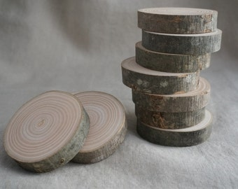 Slices of raw wood
