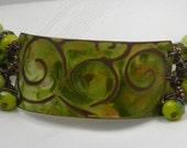 Etched Brass Bracelet - Green Bracelet - Lemon Flower Jasper Bracelet - OOAK - Copper Bracelet - Painted & Etched Brass