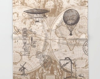 Steampunk Blanket throw - map, hot air balloon, retro,  sofa, couch, bed, travel decor, minimal, soft, brown, beige, winter, warm,