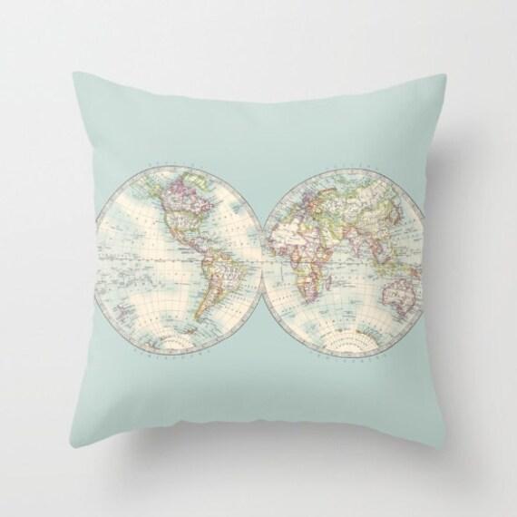 World Map Pillow - Hemispheres historical world map, soft teal travel decor, wanderlust,  Vintage Maps, unique, colorful