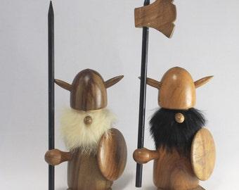 Mid Century Danish Modern Hans Bolling Teak Wood Viking Figures, Mid Century Modern Wooden Viking Pair
