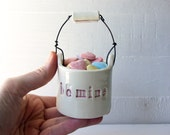 Be Mine.  Valentine's Day Gift.  Ceramic Candy Basket.  Love Cup.