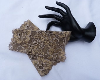 Mocha stretch lace fingerless gloves