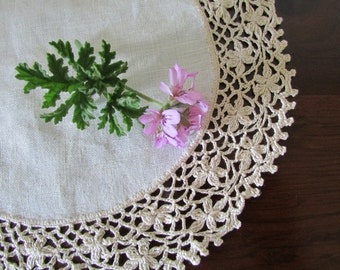 Vintage Crocheted Doily,  Handmade doily from Italy