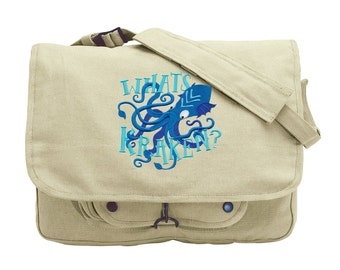 Octopus Messenger Bag, Kraken Messenger Bag, What's Kraken? Embroidered Canvas Messenger Bag Style 1