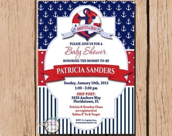 Nautical Baby Shower Invitation - Ahoy Its A Boy - Anchor - Red Blue - Nautical - Personalize Printable