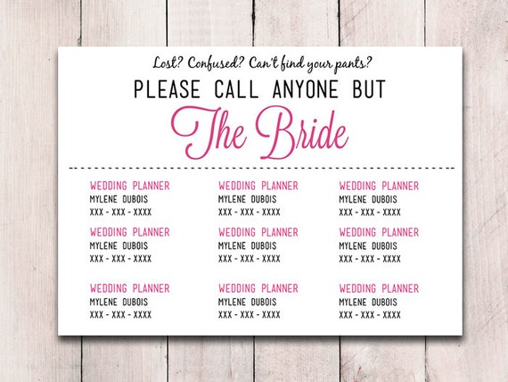 please call anyone but the bride microsoft word wedding