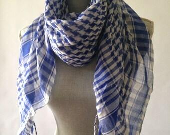 Blue  scarf, square scarf, summer scarf, blue fringe scarf,lightweight scarf,