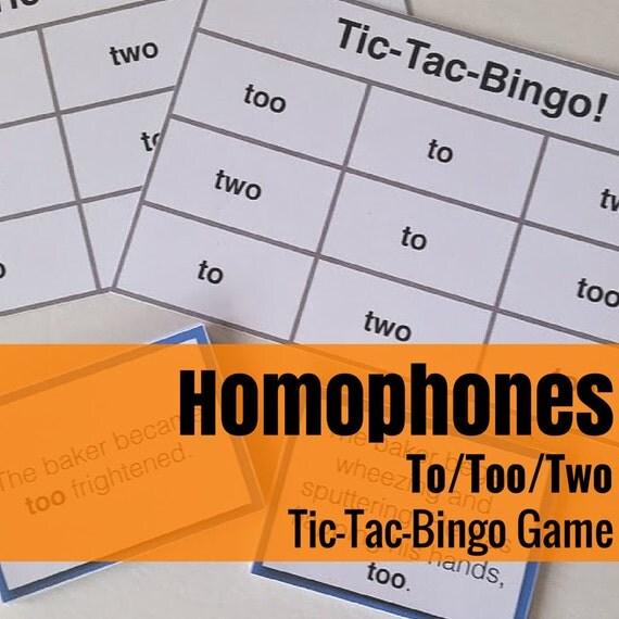 To/Too/Two Tic-Tac-Bingo Language Arts/Grammar Game
