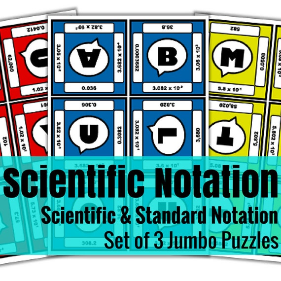 Scientific Notation Jumbo Puzzles - Set of 3 | A Math Activity