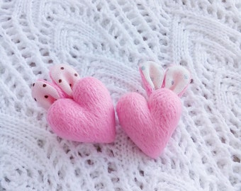 Brooch. Pink heart with bunny ears.
