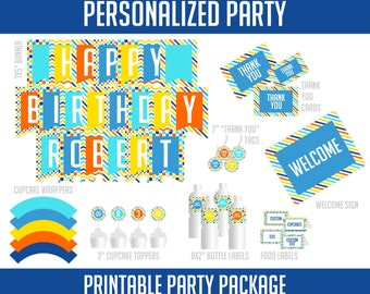 Personalized Yellow, Orange Red, Blue, Aqua Blue, Printable Birthday Party Kit Birthday Package (PDSDCH022)