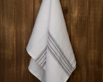 Linen Tea Towel Stonewashed White with Charcoal Stripes