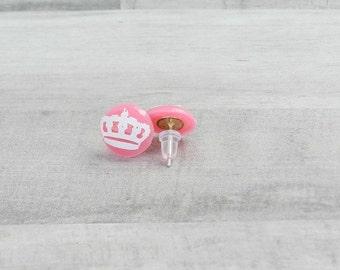 Neon Stud Earrings - Neon Crown Stud Earrings - Crown Earrings - White Crown Earrings - Stocking Stuffer Ideas - Neon Earrings