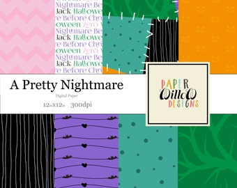 A Pretty Nightmare-(08)-12x12 Digital Paper-Instant Download-Patchwork-Bats-Hearts-Chevron-Pumpkins