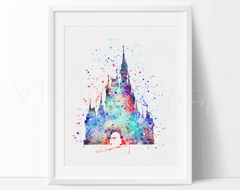 Cinderella Castle Print, Disney Princess Baby Girl Nursery Art Wall Decor, Watercolor Painting, Baby Shower Gift, Buy 2 Get 1 Free, No. 104
