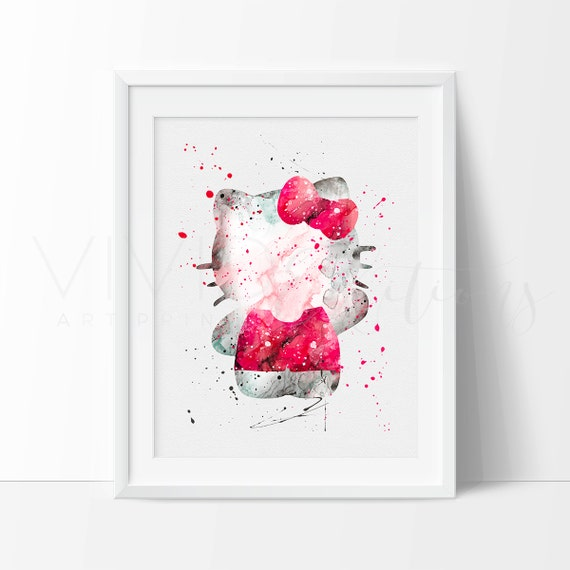 Like this item?  sc 1 st  Etsy & Hello Kitty Watercolor Print Baby Girl Nursery Wall Art Kids