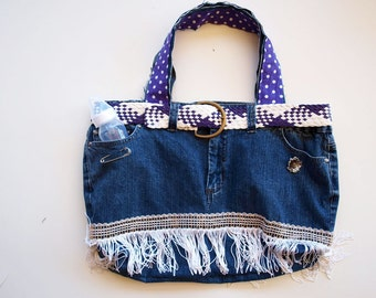 Funky DiaperBag, Nappy Bag, Denim Nappy Bag, Travel Bag, Cool BABY Shower Gift. Upcycled denim jeans. So Hip