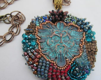 Bead embroidered pendant,  bead embroidery jewelry,one of a kind jewelry,  boho pendant, handmade, metal face cabochon,unique jewerly