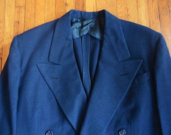 Vintage 1940s Bond Clothing Blue Double Breasted Textured Weave Suit Jacket 36-38