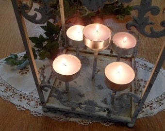 Decorative cage, candle holder shabby cage metal Lantern cage Tealight holder