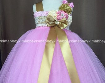 Flower girl tutu dress pink gold ivory