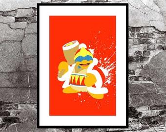 King Dedede - Kirby Video Game Inspired - Video Game Art Poster Super Smash Bros Brawl
