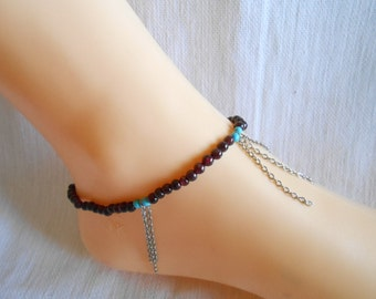 Brown beands turquoise  chain anklet with stone handmand thailand(JA1079)