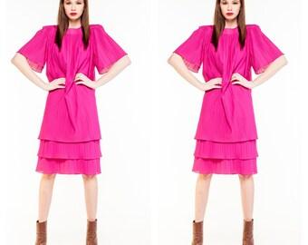 Vintage Hot Pink Shift Dress