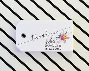 Wedding Favor Tags, Thank You Wedding Tags, Wedding Name Tags, Thank You Tags, Personalized Favor Tags, 24 pcs