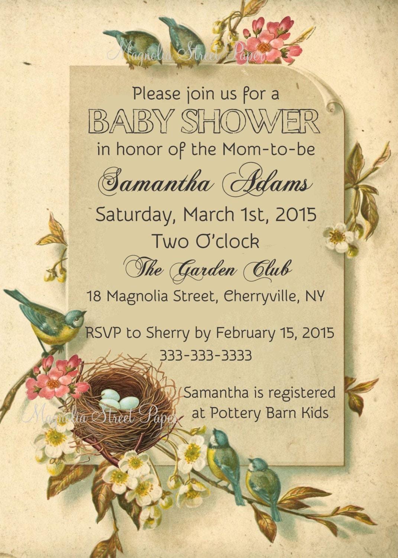 Bird Baby Shower Invitations, Bird and Nest Baby Shower Invite ...