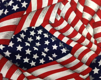 One Half Yard of Fabric Material - Waving Stars and Stripes Collage, American Flag