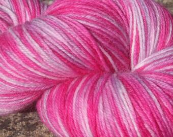 July Pinks #3 -Hand Dyed 4 ply sock yarn 100g - Superwash